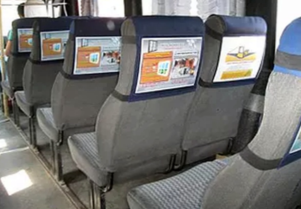 Как выглядит реклама на сиденьях в маршрутках?